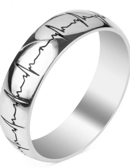 Kalp Ritmi Figürlü Kişiye Özel Gümüş Alyans Çifti